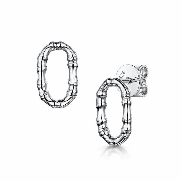 ROX Cane Silver Oval Stud Earrings