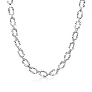 ROX Cane Silver Oval Link Necklace