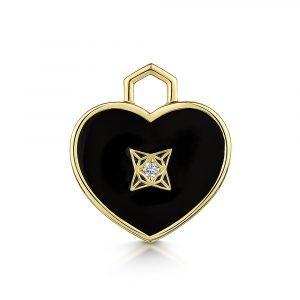 ROX LOX Diamond Black Enamel Heart Charm
