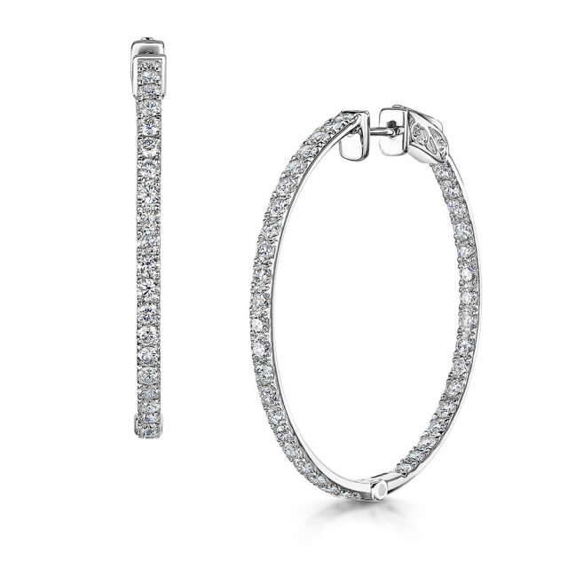 Diamond Hoop Earrings 2.45cts