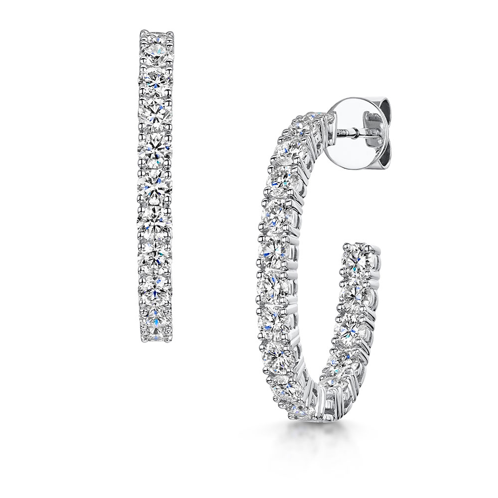 Diamond Hoop Earrings 2.82cts