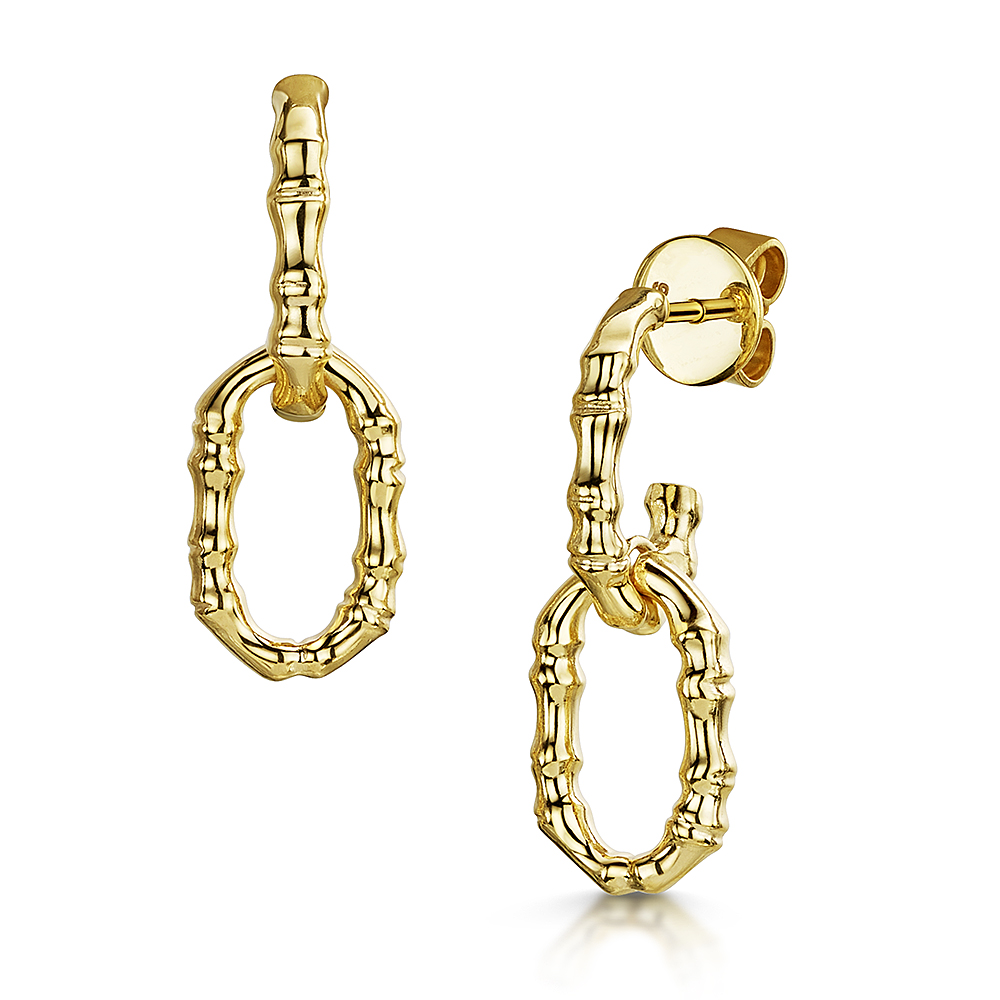 ROX Cane Yellow Double Oval Link Earrings