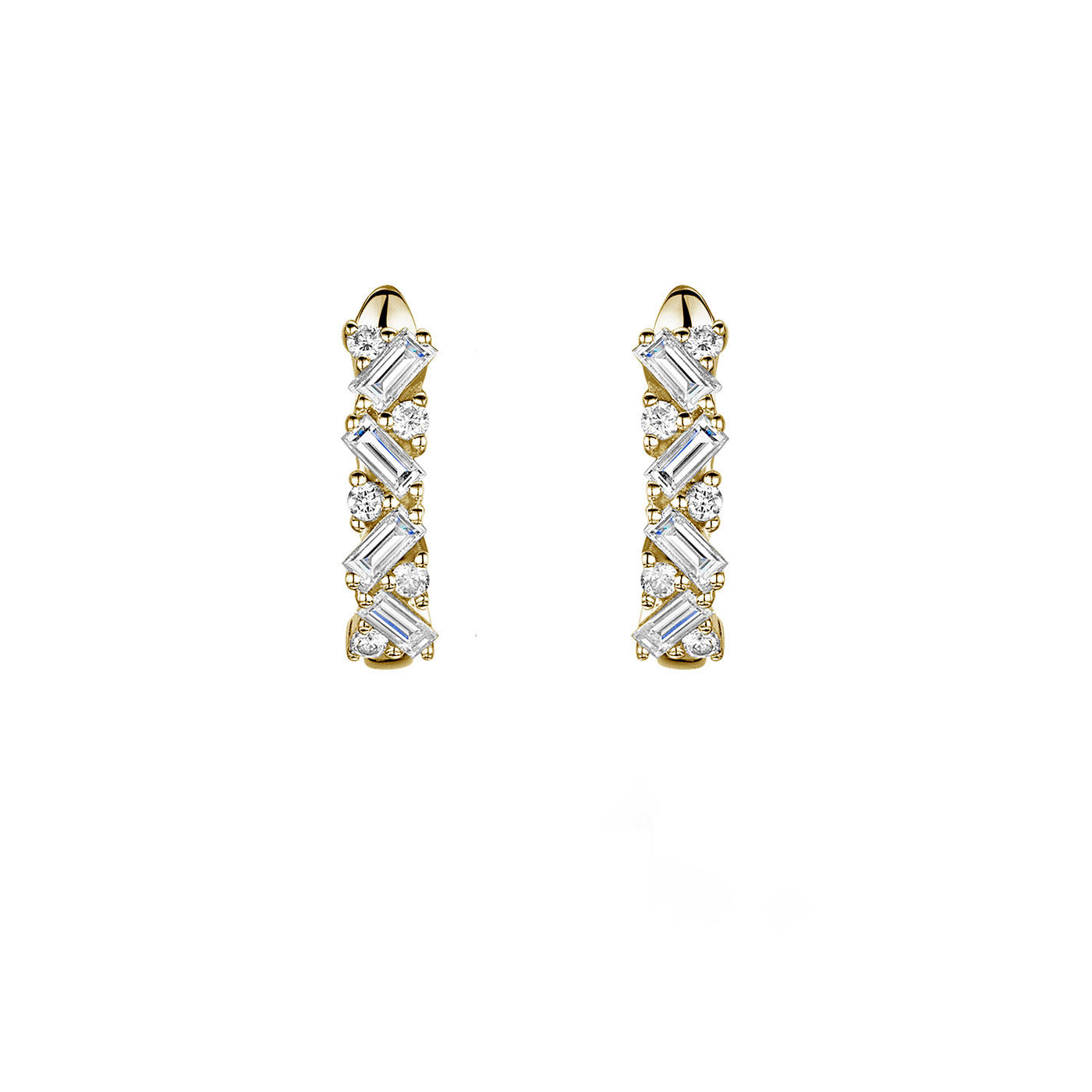 Diamond Baguette and Brilliant Earrings 0.48cts