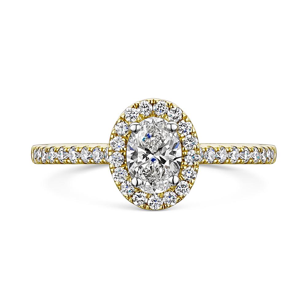 Oval Cut Diamond Halo Ring in Yellow Gold