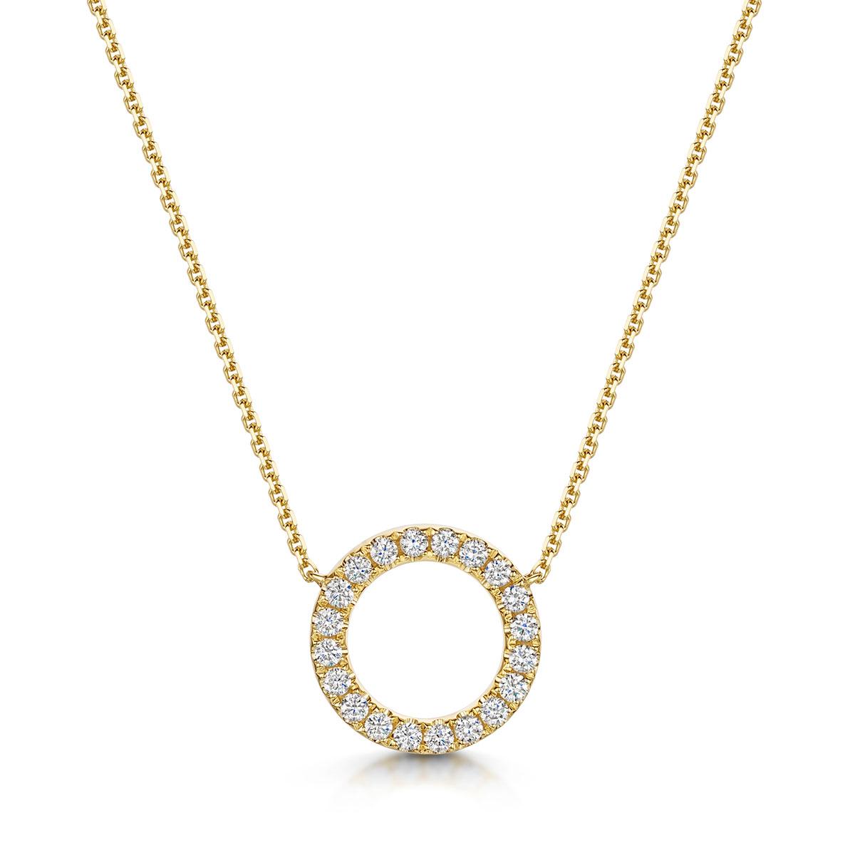Circle Diamond Necklace 0.36cts