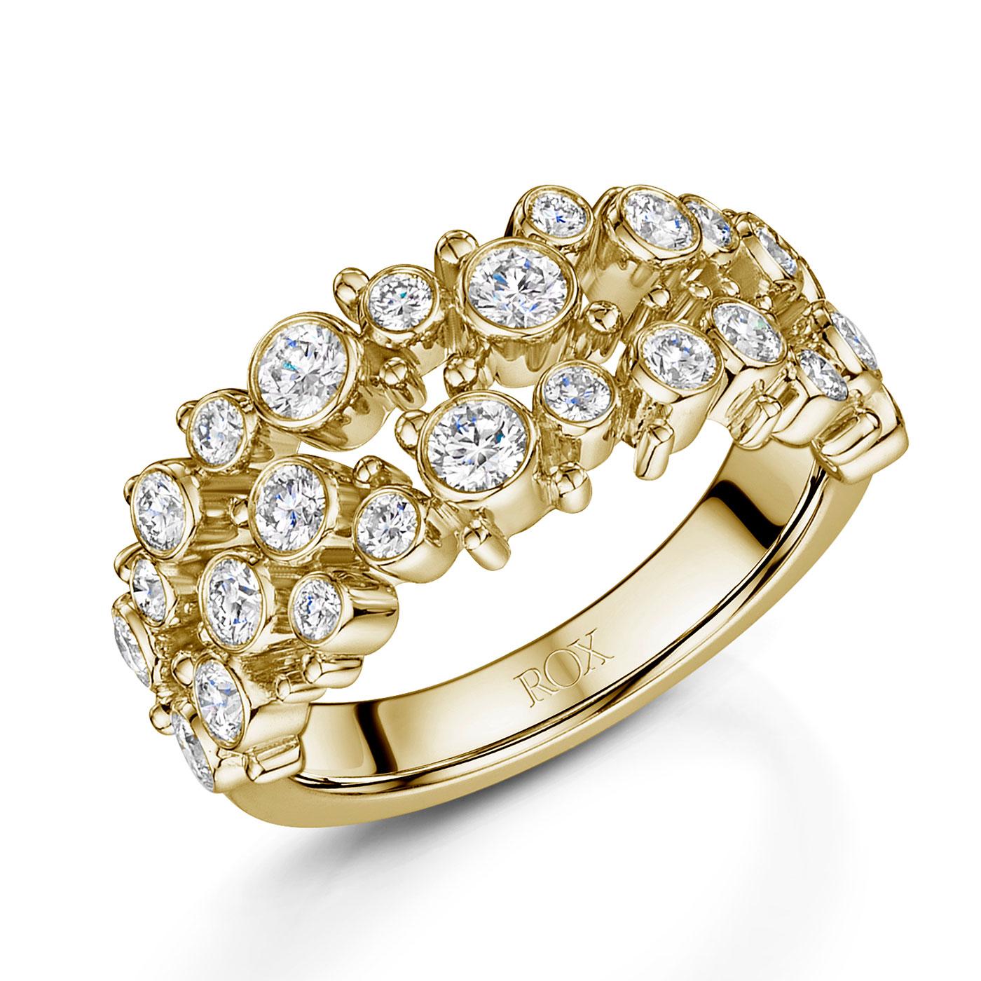 Cascade Diamond Two Row Ring 0.94cts