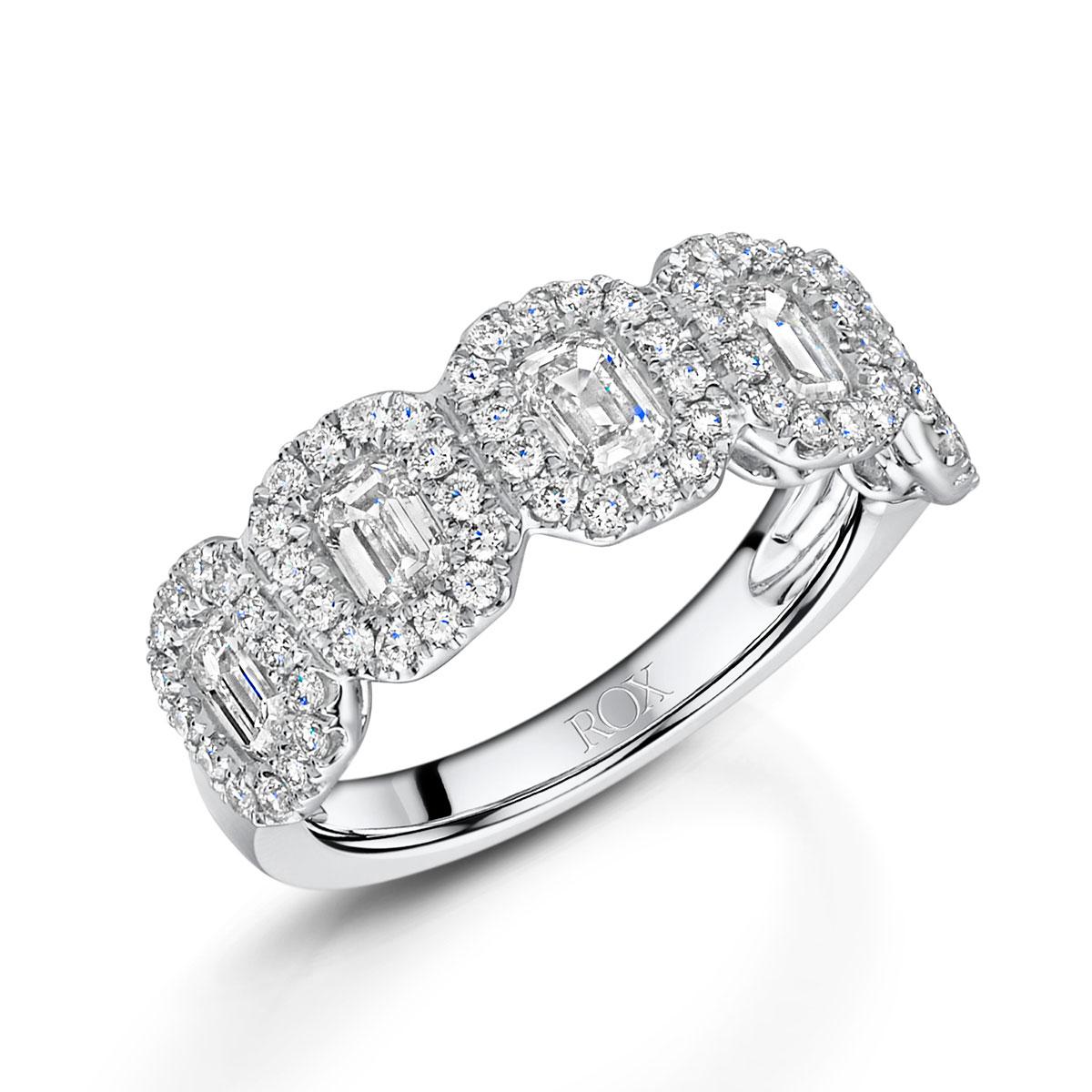 ROX Diamond Emerald Cut Dress Ring 1.65cts