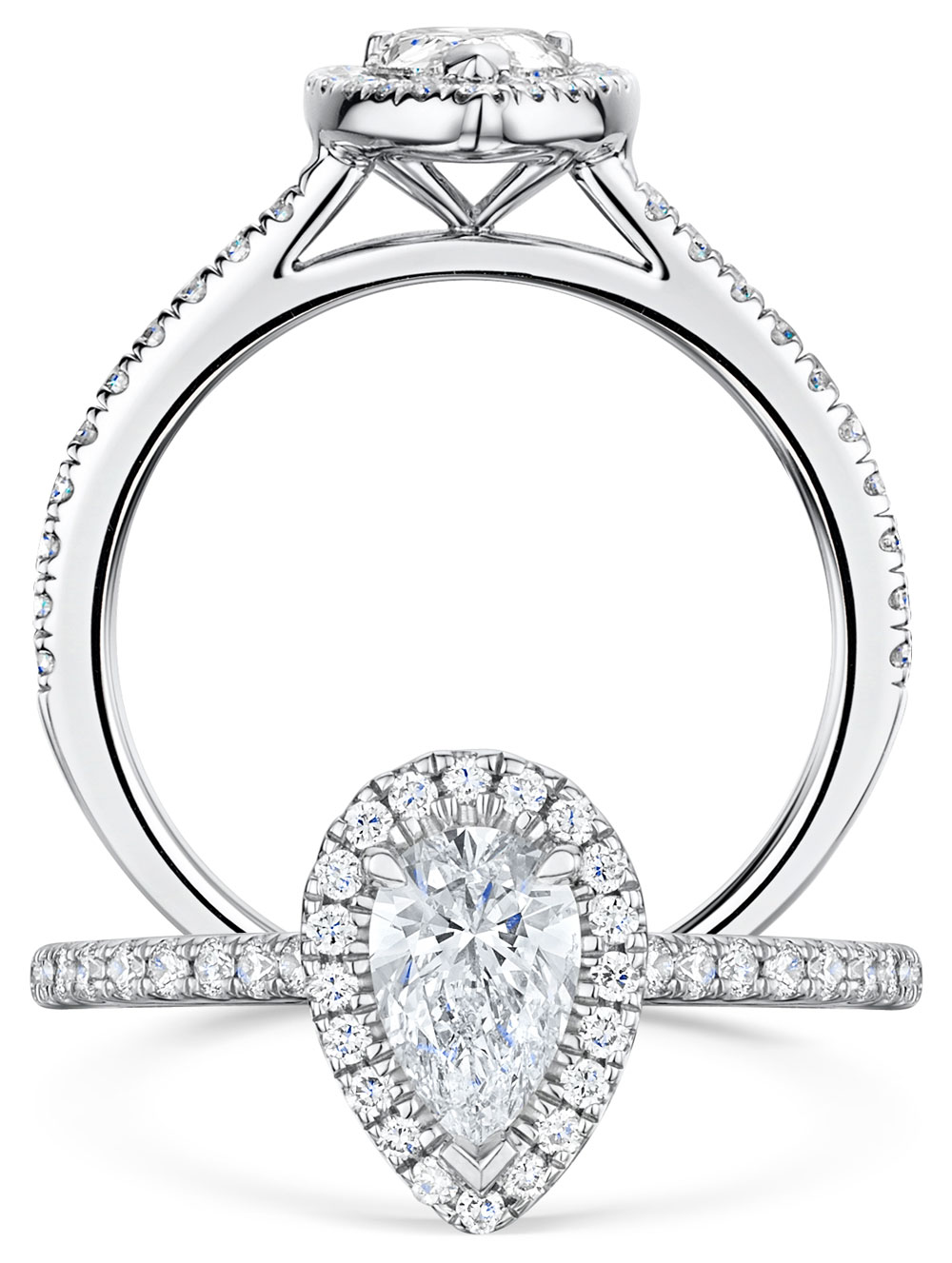 Halo Pear Cut Diamond Ring