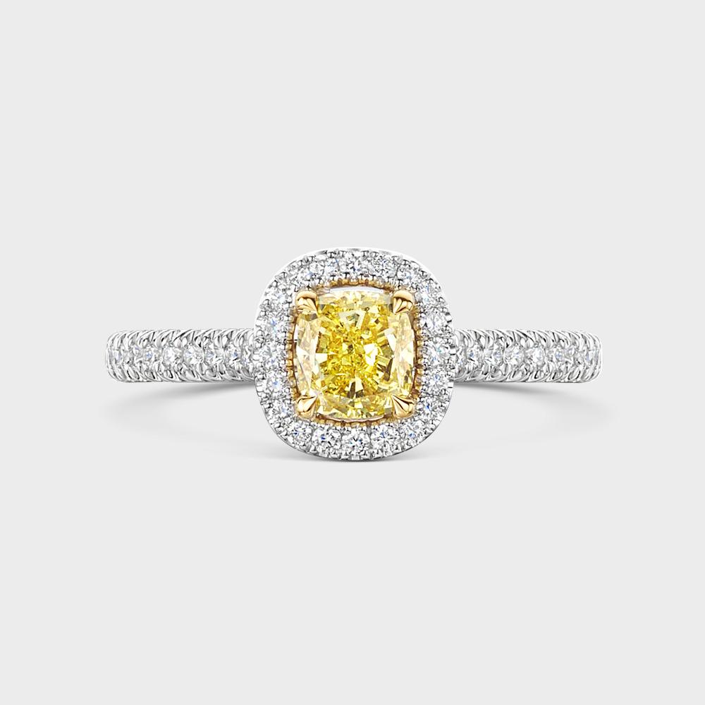 ROX Love Cushion Cut Yellow Diamond Halo Ring in Platinum
