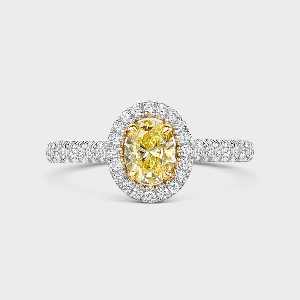 ROX Love Oval Cut Yellow Diamond Halo Ring in Platinum