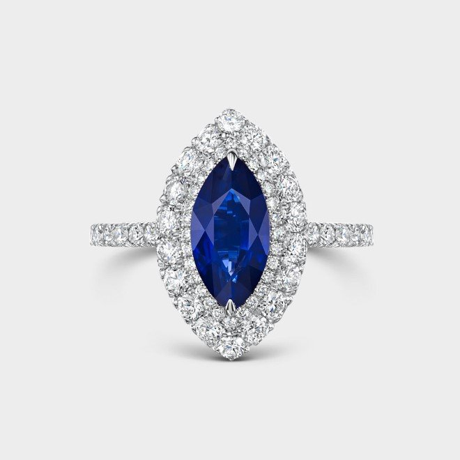 ROX Marquise Sapphire and Sapphire Double Halo Ring