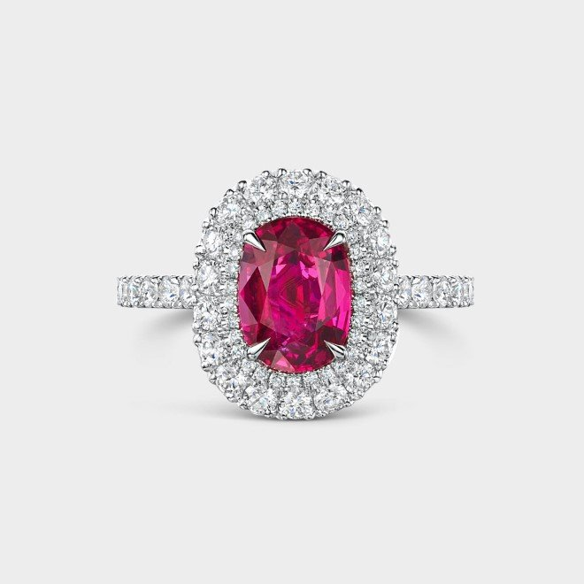 ROX Cushion Cut Ruby and Diamond Double Halo Ring