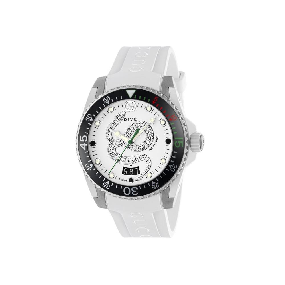 Gucci Dive White Dial Snake Motif YA136330