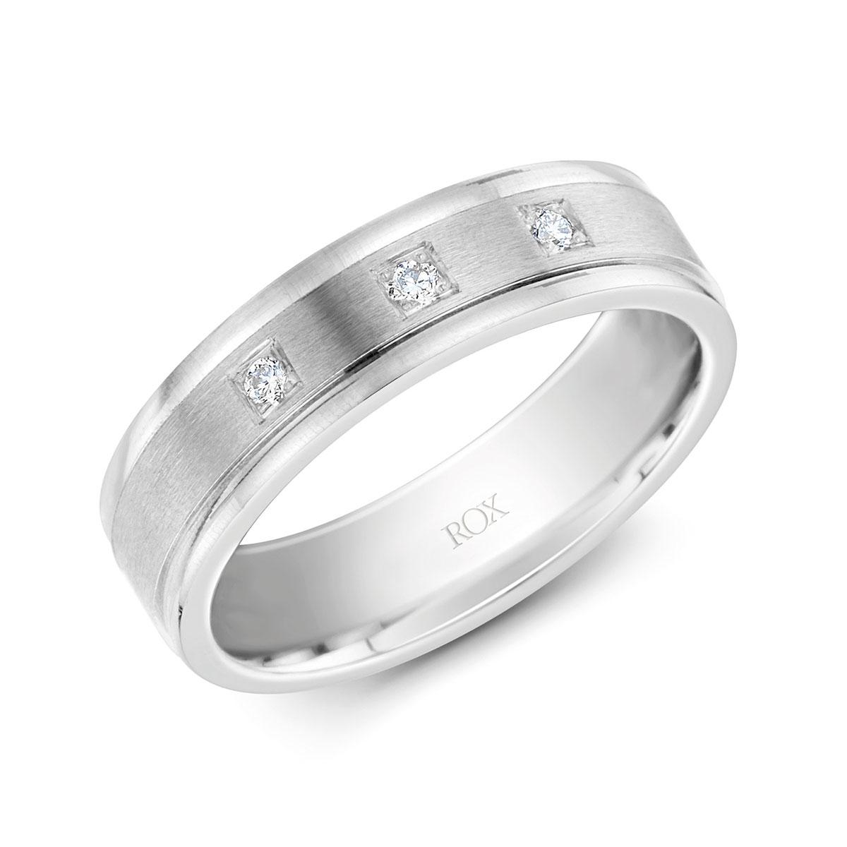 ROX Platinum Diamond Wedding Ring 0.08cts