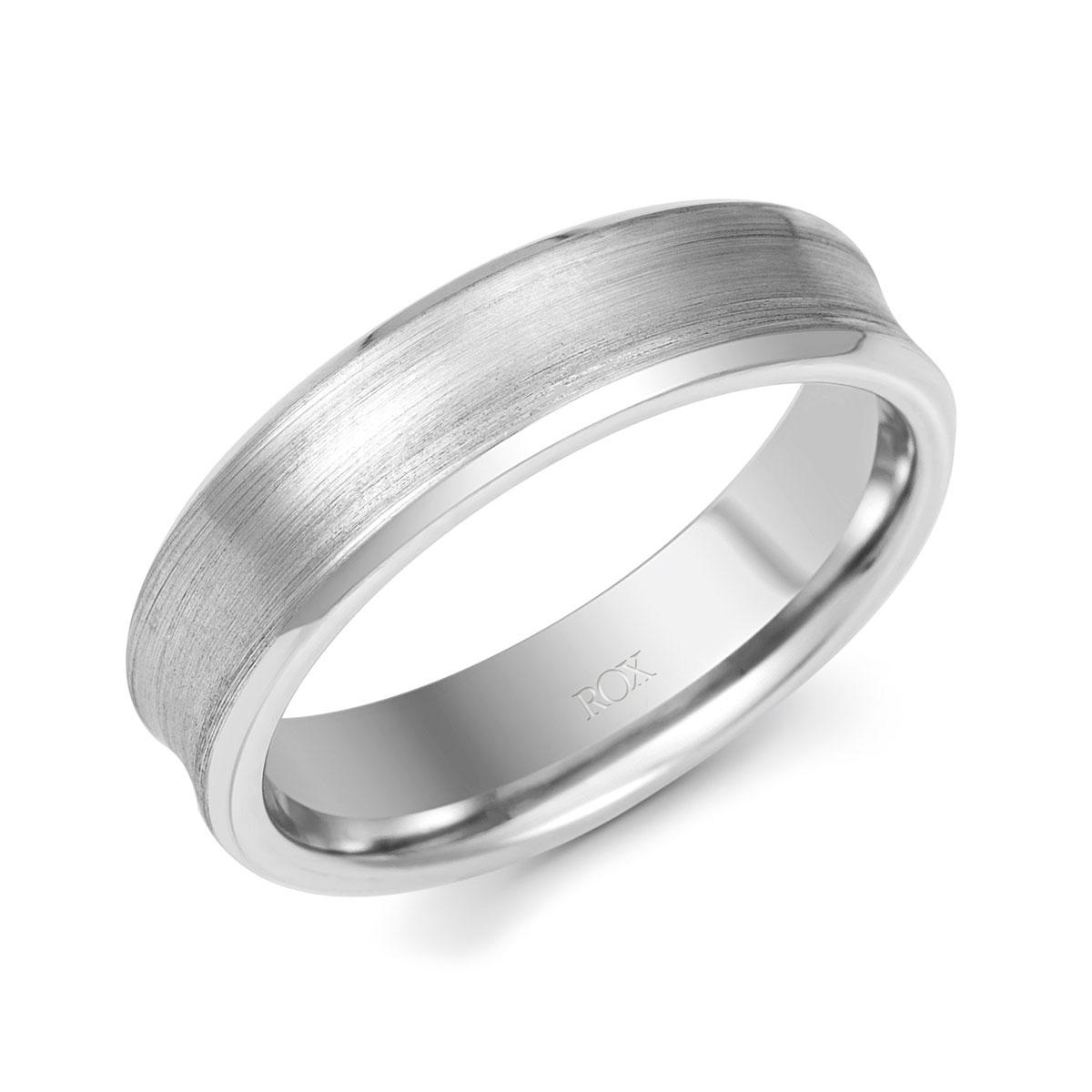 ROX Platinum Concave Wedding Ring 6mm