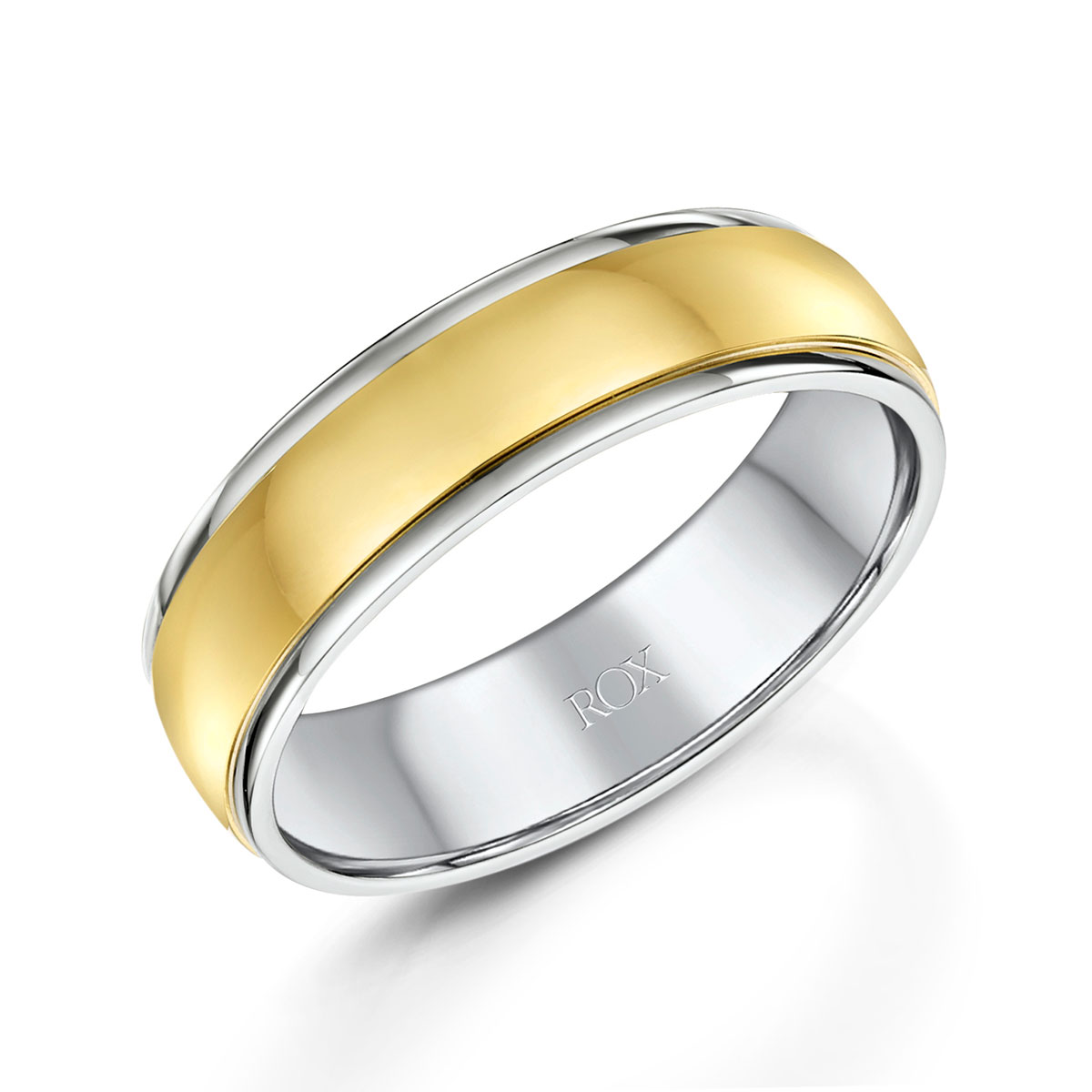 ROX Platinum and Yellow Gold Wedding Ring 6mm
