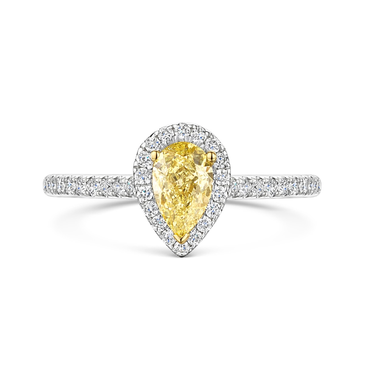 ROX Love Pear Cut Yellow Diamond Halo Ring in Platinum