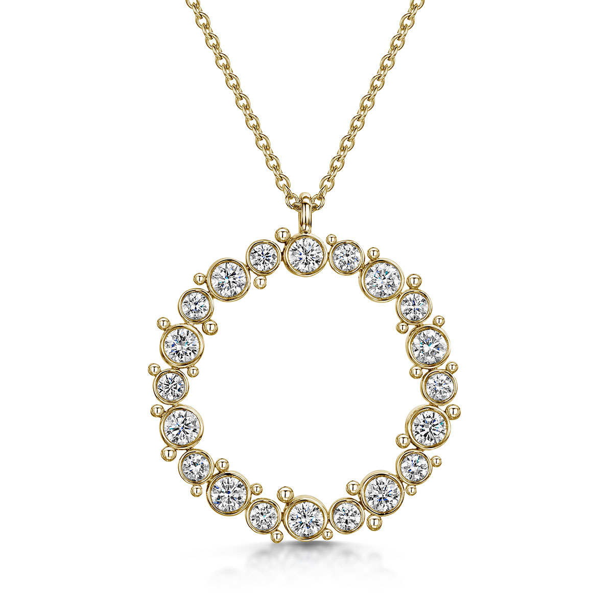 ROX Cascade Diamond Circle Necklace 1.38ct