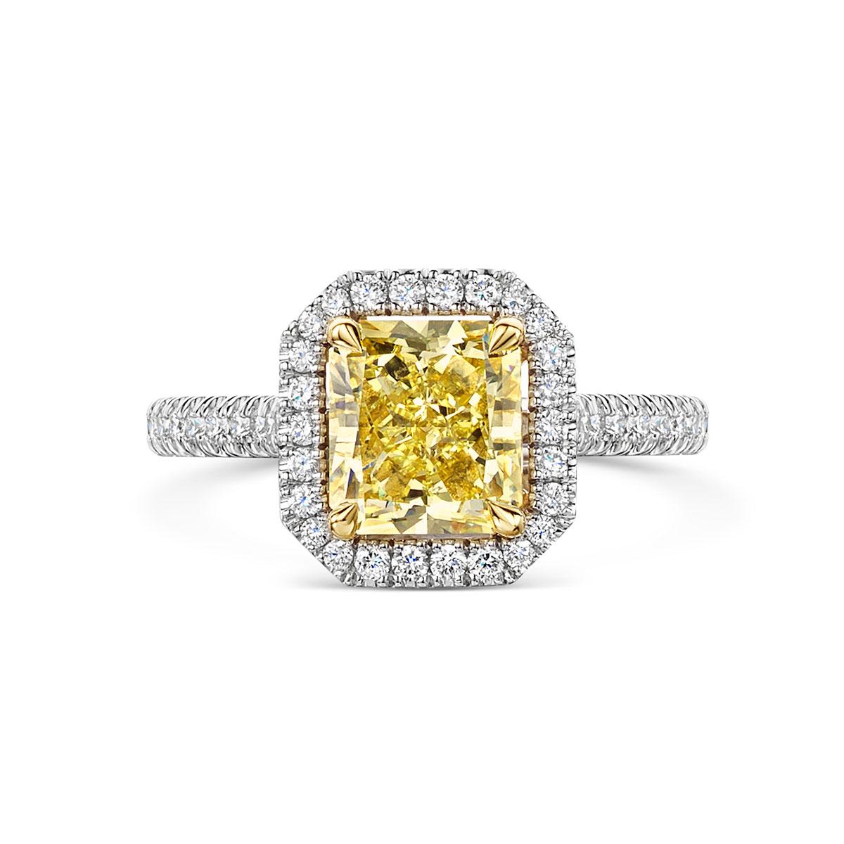 ROX Love Radiant Yellow Diamond Halo Ring in Platinum