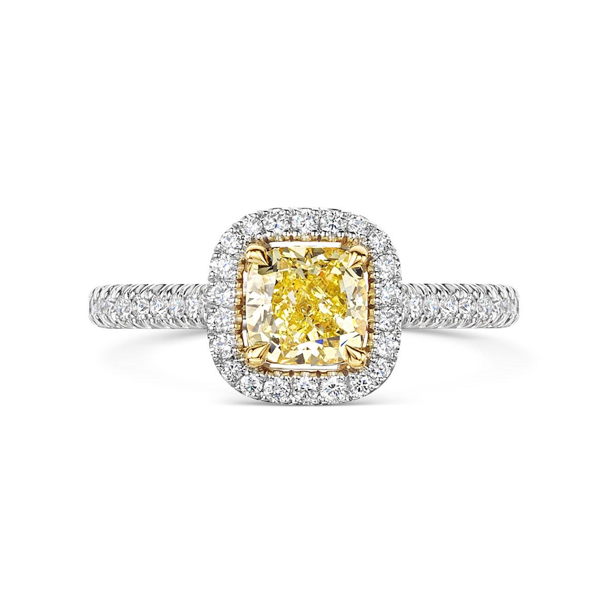 ROX Love Cushion Yellow Diamond Halo Ring in Platinum