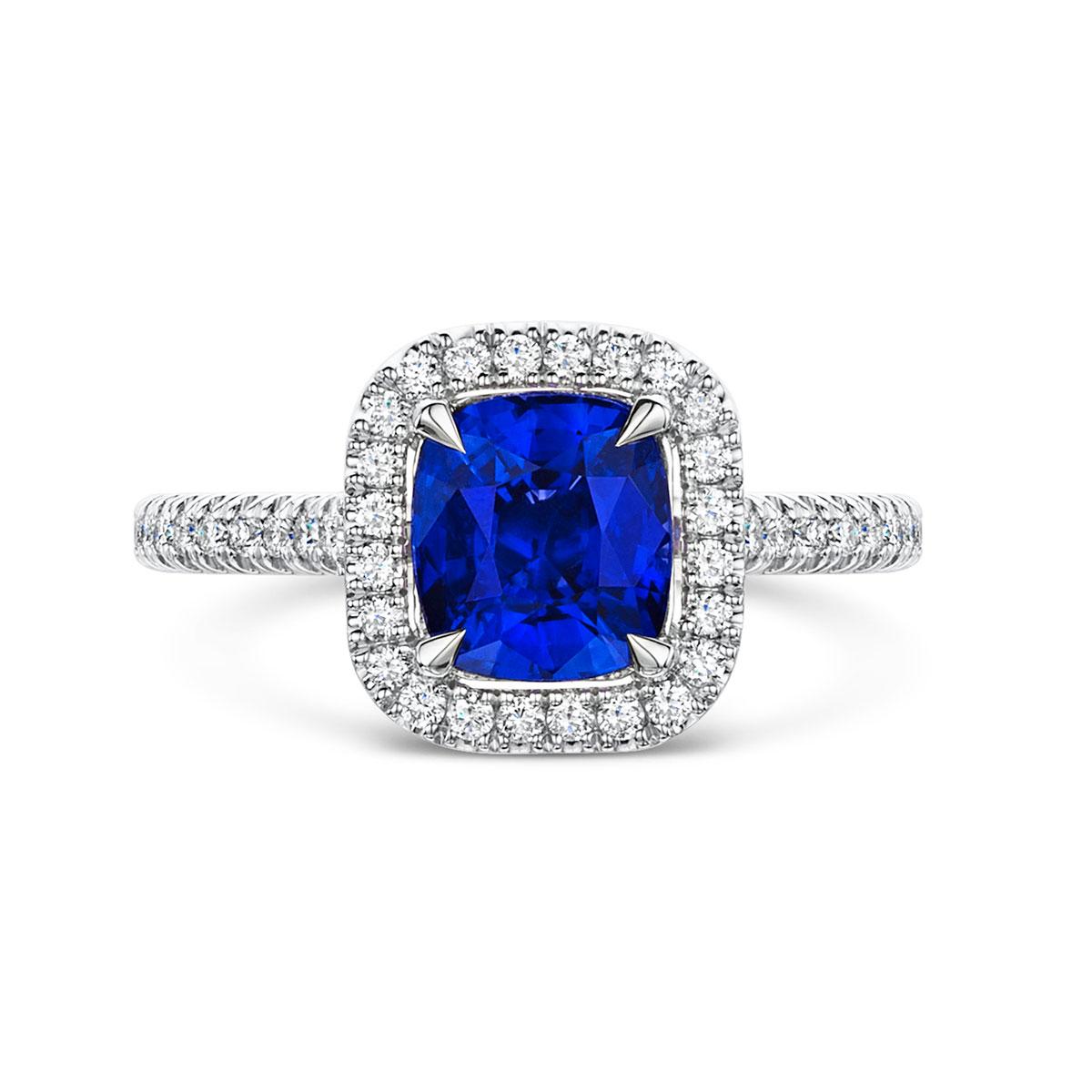 ROX Love Sapphire & Diamond Halo Ring 2.54cts