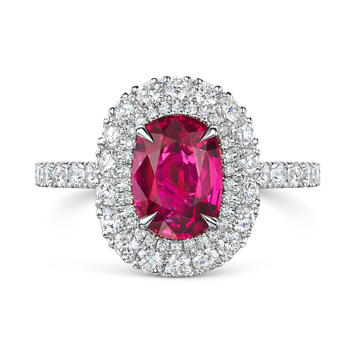 Cushion Cut Ruby and Diamond Double Halo Ring