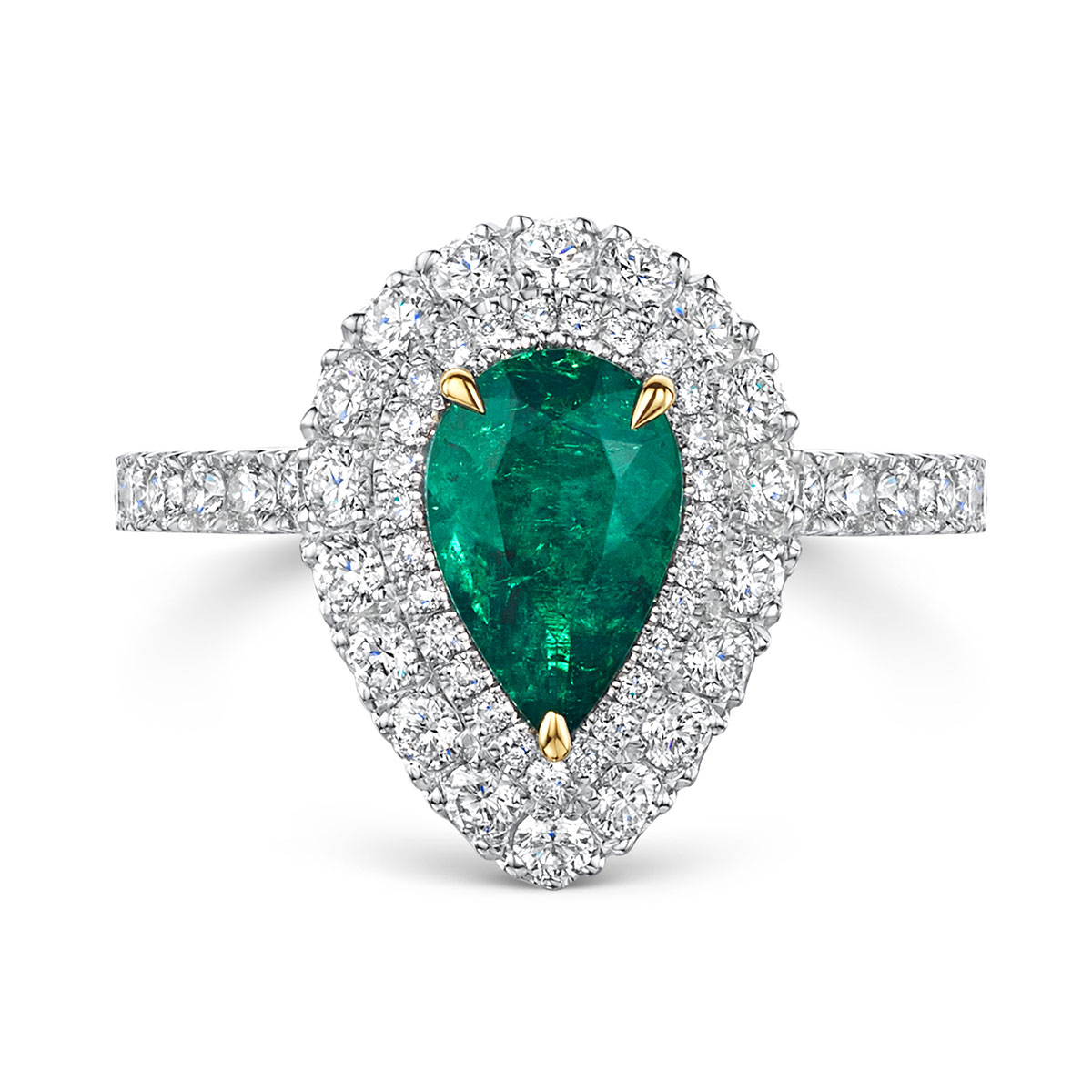ROX Pear Emerald and Diamond Double Halo Ring