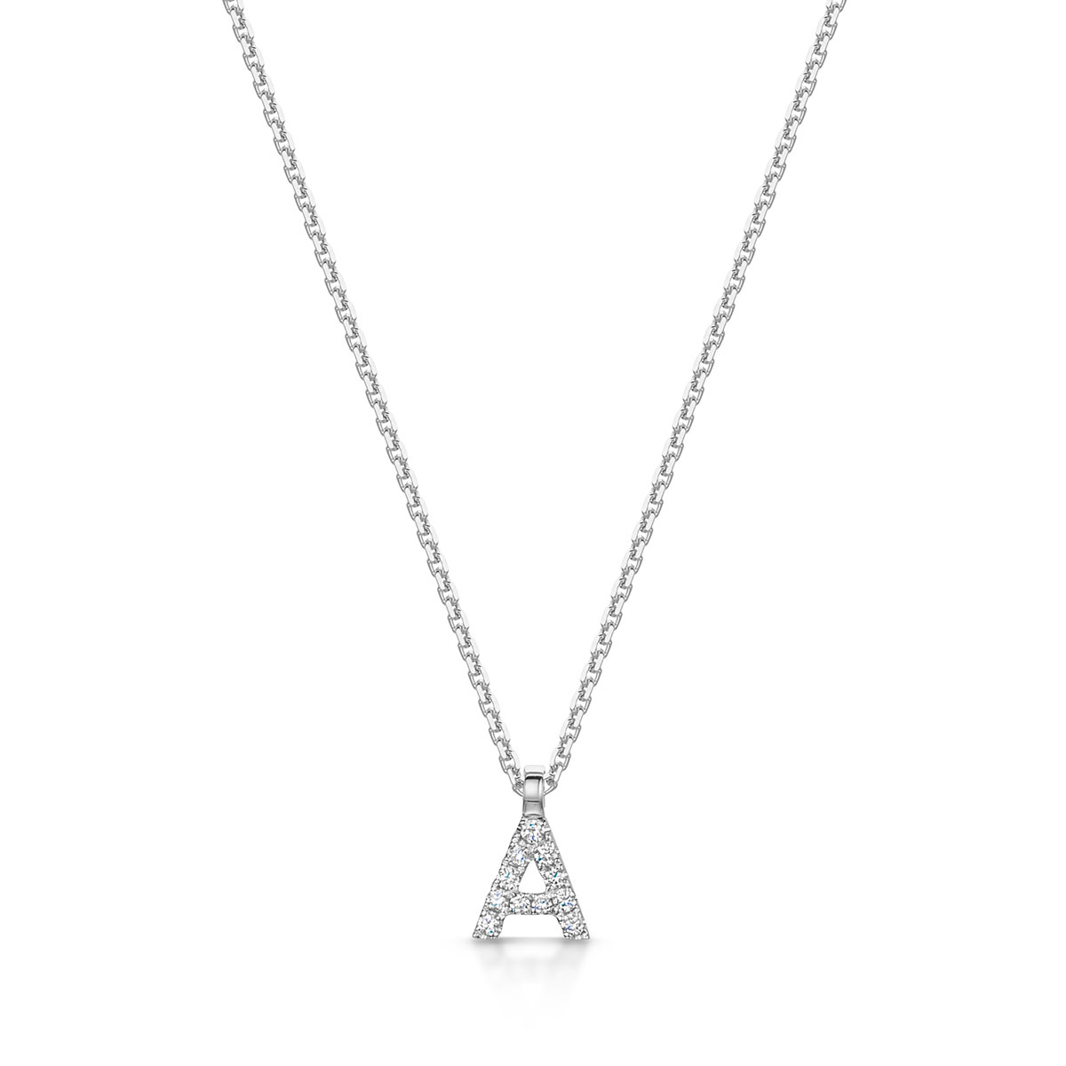 ROX White Gold Diamond Initial Necklace A-Z available