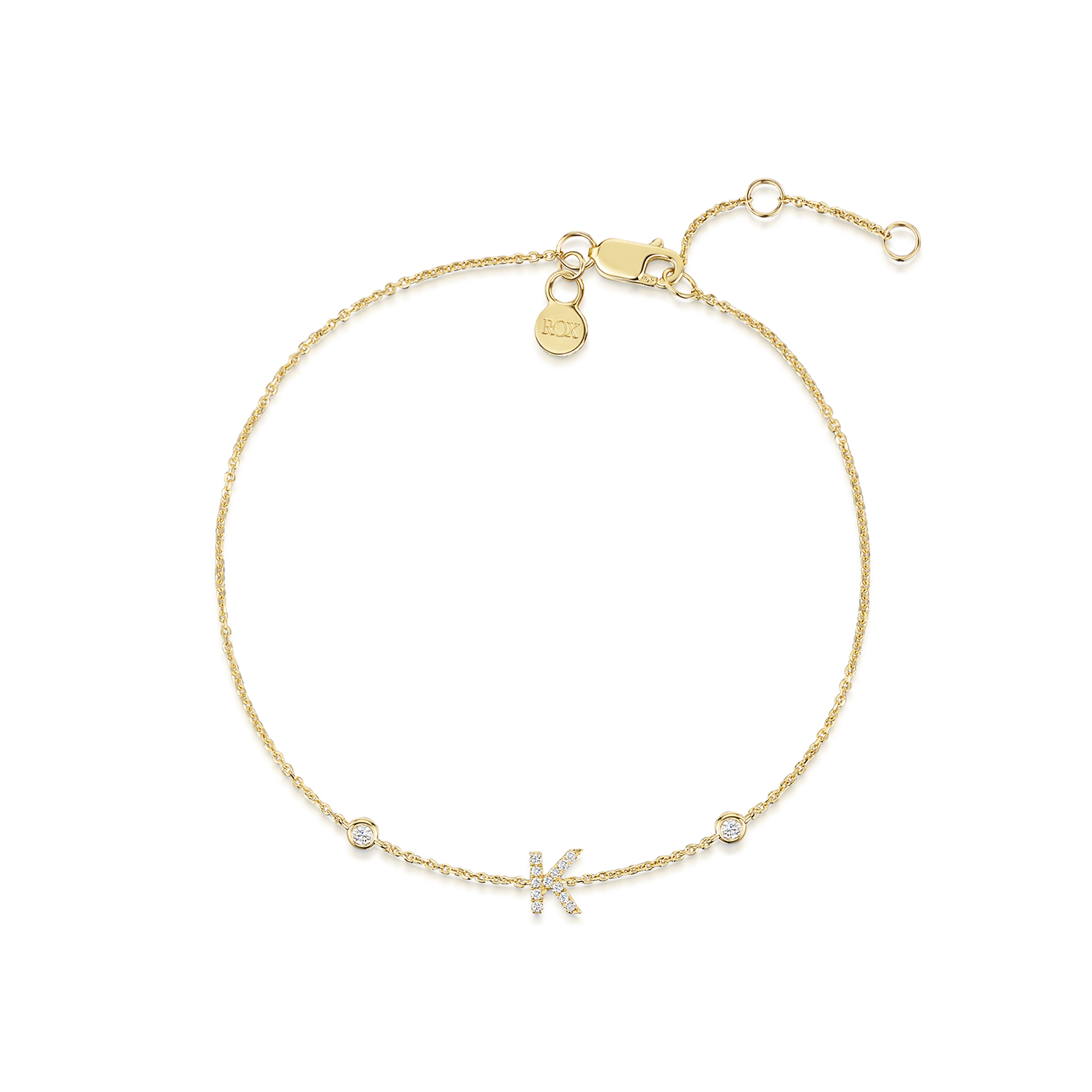ROX Yellow Gold Initial Bracelet A-Z available